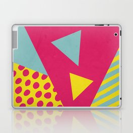 Pink Turquoise Geometric Pattern in Pop Art, Retro, 80s Style Laptop & iPad Skin