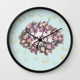 Happy flowers bridal pattern Wall Clock