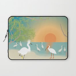 Egrets on a Sunset Beach Laptop Sleeve