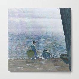 Evening on Lake Beach Metal Print