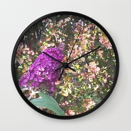 Budleja with butterfly Wall Clock