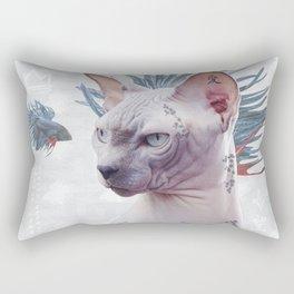 Smells Like Spring tattooed cat Rectangular Pillow