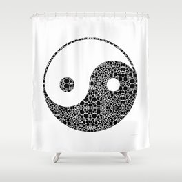 Perfect Balance 1 - Yin and Yang Stone Rock'd Art by Sharon Cummings Shower Curtain