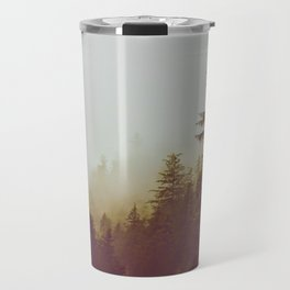 Olive Green Sepia Misty Pine Forest Landscape Photography Parallax Trees Travel Mug