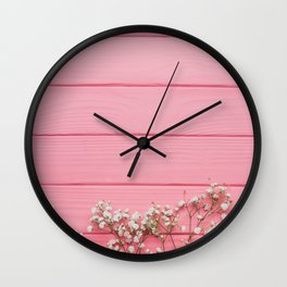 Baby's Breath x Candy Pink Wood Wall Clock
