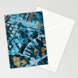 Turquoise and Gold Abstract Painting Stationery Cards