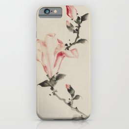 Pink Blossom on a Stem, Japanese fine art iPhone Case