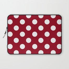 Carmine - red - White Polka Dots - Pois Pattern Laptop Sleeve