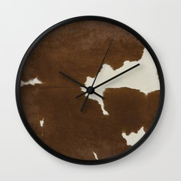 Dark Brown & White Cow Hide Wall Clock