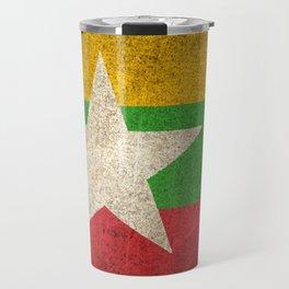 Old and Worn Distressed Vintage Flag of Myanmar Travel Mug