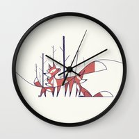foxes Wall Clocks featuring Foxes by Ale Giorgini