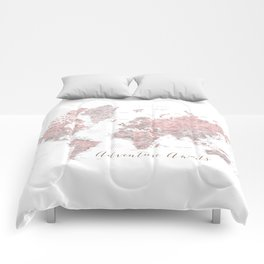 Adventure awaits world map in dusty pink and grey (vertical) Comforters
