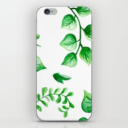 Watercolour Ferns And Vines Leafy Green Continuous Pattern iPhone Skin