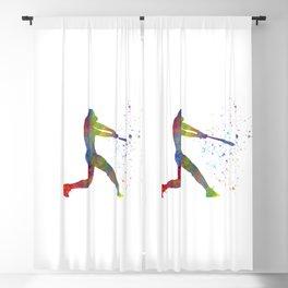 Watercolor baseball player Blackout Curtain