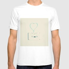 ANALOG zine, Retro white music cassette and blue heart shaped tape on beige background MEDIUM White Mens Fitted Tee
