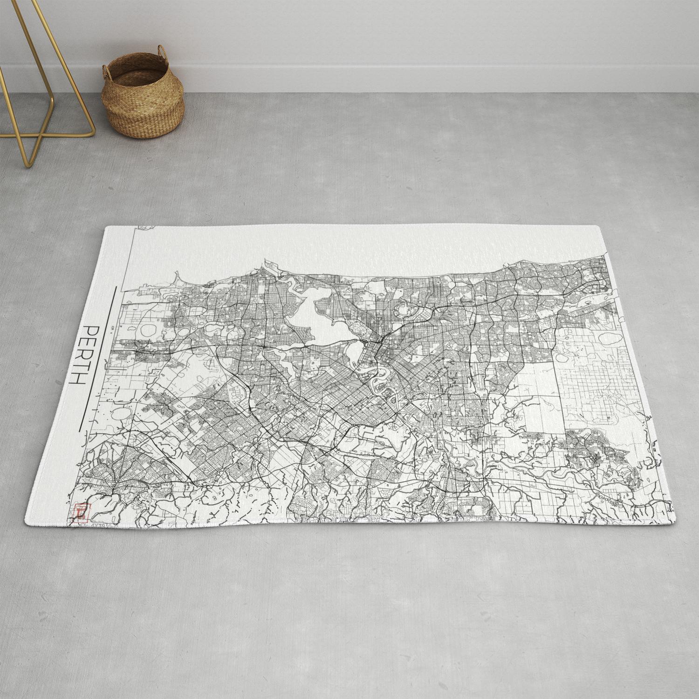 Perth Map White Rug By Hubertroguski
