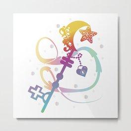 Cute Rainbow Silhouette Heart Moon Key With Locket Metal Print