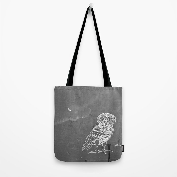 ATHENA'S OWL IN GREY BACKGROUND  Tote Bag