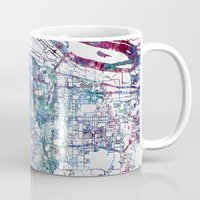 portland Mugs featuring Portland map by MapMapMaps.Watercolors