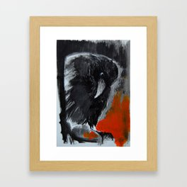 crow looking from above - ink and acryilic print Framed Art Print