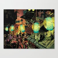 lanterns Canvas Prints featuring Lanterns by Christine Larsen