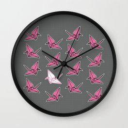 PAPER CRANES PINK AND GREY Wall Clock