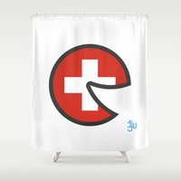 switzerland Shower Curtains featuring Switzerland Smile by onejyoo