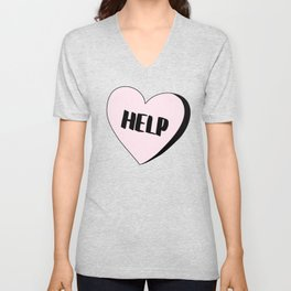 Help Candy Heart Unisex V-Neck