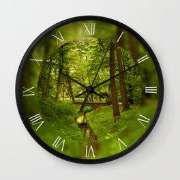 Green spring leafy trees Wall Clock