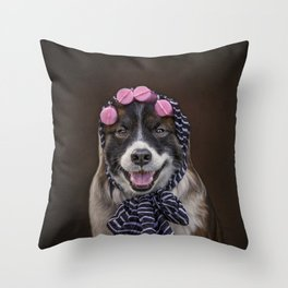 Dog in Pink Sponge Curlers Throw Pillow