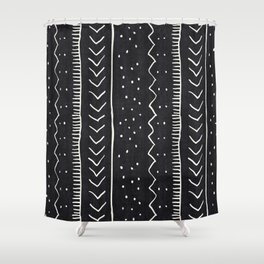 Moroccan Stripe In Black And White Shower Curtain
