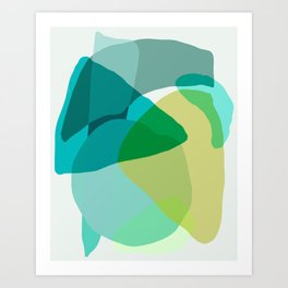 Shapes and Layers no.17 - Abstract Painting in Greens and Blues Art Print
