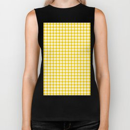 Small Diamonds - White and Gold Yellow Biker Tank