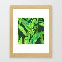 Green Jungle Tropical Leaves Pattern Framed Art Print