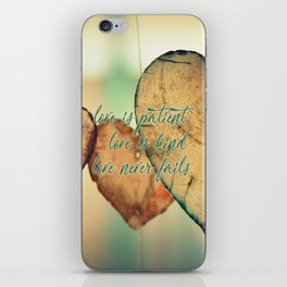 Romantic Wood Hearts Rustic Love Quote Bible Verse iPhone Skin