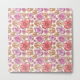 Modern botanical blush pink coral pastel yellow floral illustration Metal Print