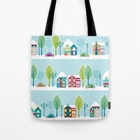 ski Tote Bags featuring Ski house by Polkip