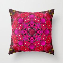 Garden mosaic kaleidoscope mandala - hot pinks Throw Pillow