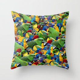 Parrots collage birds photo print parrots pattern green blue red yellow Throw Pillow