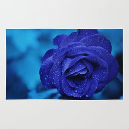 Blue Rose With Rain Drops Rug