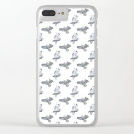 Snowy owl in flight on WHITE Clear iPhone Case