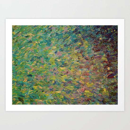 FIELDS OF BLUE - WOW Modern Abstract Shades of Blue and Green in Nature Theme Grass Waves Art Print
