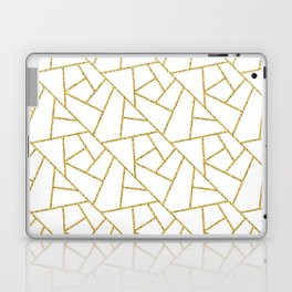 Gold and White Abstract Geometric Glitter Pattern Laptop & iPad Skin