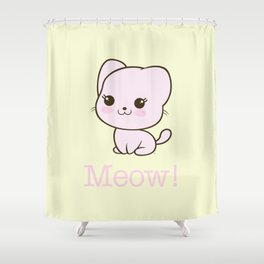 Pastel Kitten Kawaii Shower Curtain
