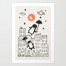 The Penguins into moonlight Art Print