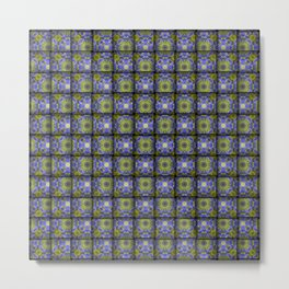 Woven Allium Flower Fabric Pattern Metal Print