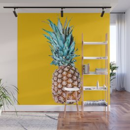 Pineapple Ananas On A Yellow Mellow Background #decor #society6 #buyart Wall Mural