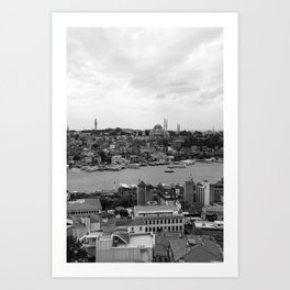Istanbul city photography in black and white Art Print