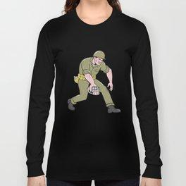 World War Two Soldier American Grenade Cartoon Long Sleeve T-shirt