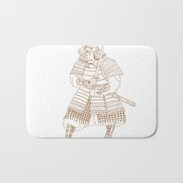 Bushi Samurai Warrior Drawing Bath Mat
